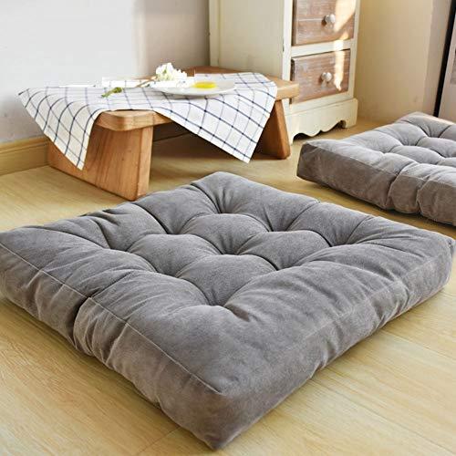 HIGOGOGO Floor Pillow, Square Tufted Seat Cushion Thicken Corduroy Meditation Pillow Tatami Floor Cushion for Yoga Living Room Balcony Office Outdoor, Grey, 22x22 Inch