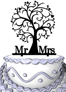 Meijiafei Mr and Mrs Cherry Blossom Tree Unique Wedding Cake Topper