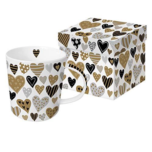 Home Collection Hogar Cocina Decoración Accesorios Cubertería Vajilla Taza de Café con Caja de Regalo Motivo Corazones