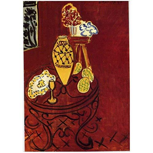 Mural de flores de vino tinto Francia Henri Matisse fauvismolienzo pintura decoración del hogar para habitación estética-20X28 en sin marco