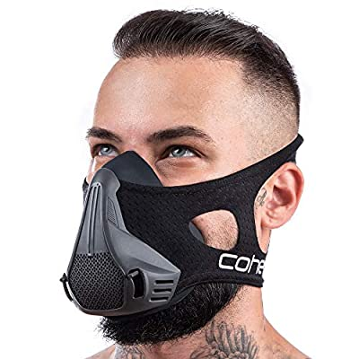 coher Training Mask for Men and Women with 24 Breathing Resistance Levels - Ideal for Workout Running Biking Fitness Jogging Cardio Exercise – Increase Lung Capacity and Endurance