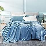 Bedsure Manta Cama 180 Invierno - Manta Sofa Extra Grande de Franela Suave, Mantas 270x230 cm Cubre Sofas, Azul