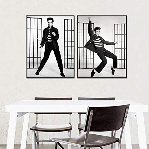 WADPJ Ballerina voor dans, klassiek, motief: Elvis Presley, moderne druk op canvas, afbeelding voor woonkamer, huisdecoratie, poster, 50 x 70 x 2 stuks, zonder lijst