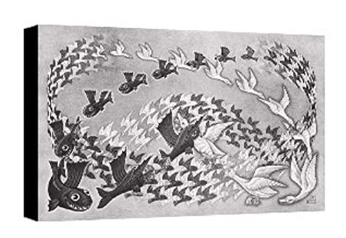 Quadro intelaiato Pronto da Appendere Escher 34 cm 35x50 Stampa su Tela Canvas Vendita Falsi di Autore Il Negozio di Alex