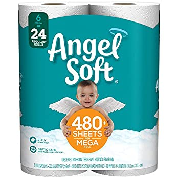 Angel Soft Toilet Paper 6 Mega Rolls 6 = 24 Regular Bath Tissue Rolls 480+ 2-Ply Sheets Per Roll