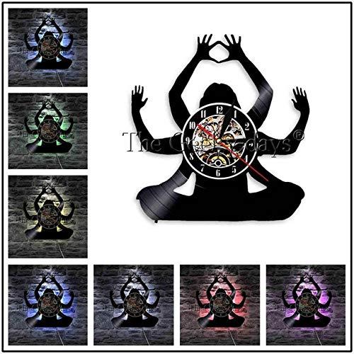 Zhuhuimin 1 mandala yoga zelfstudie oefening geluidsplaat wandklok meditatie Zen Lotus Boeddha moderne sport wandklok LP klok wandklok opname wandklok 12x12inch Met led-licht.