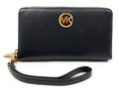 Michael Kors Fulton Large Flat Leather Multifunction Phone Case Wristlet (Black)