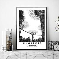 シンガポールビューポスターシンガポール風景壁アートパネル都市座標キャンバス絵画インテリア黒白旅行写真北欧版画リビング ルーム部屋モダン装飾画