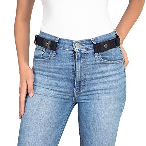 Elastischer Gürtel ohne Schnalle Damen - Schnallenfreier Gürtel Damen oder Herren Gürtel - Unsichtbarer justierbarer Stretchgürtel, Schwarz, 80 - 120 cm