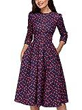 Minetom Mujer Vestidos Verano Floral Años 50 Vintage Elegante 3/4 Mangas O Cuello Casual Moda Midi Dress Cóctel Fiesta Flor A ES 44