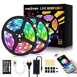 AMBOTHER LED Streifen 10m(2x5m) RGB LED Strip 300(2x150) LEDs 5050SMD Lichtband steuerbar via App,...