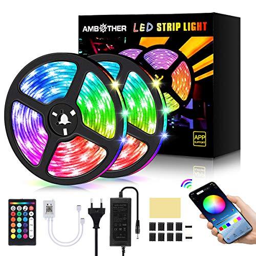 AMBOTHER LED Streifen 10m(2x5m) RGB LED Strip 300(2x150) LEDs 5050SMD Lichtband steuerbar via App, LED Bänder mit Fernbedienung Netzteil, Sync mit Musik, Dimmbar Selbstklebend Schneidbar für Deko 12V
