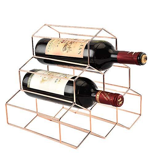BAIVIT Metallbienenwaben-Weinregal 6 Flaschen Rote und Weiße Traube Weinregalarbeitsplatte-Champagnergestellausgangs-Weinkabinettdekoration,Rosegold