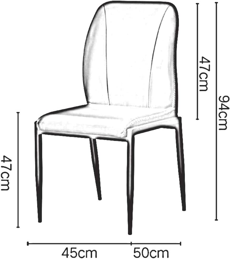 DALL Chaise De Salle À Manger Moderne Dossier Chaises De Table Siège en PU Armature en Métal Chaise De Bureau Chaise De Café De Loisirs 45x50x94cm (Color : Gray) Light Tan