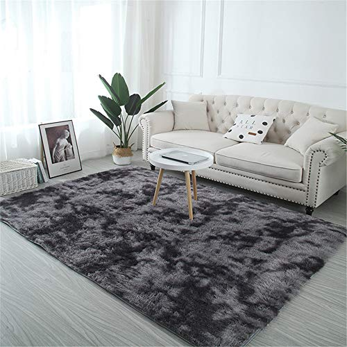 TROYSINC Tapis shaggy à poils longs - Lavable - Moderne et moelleux - Pour le salon et la chambre à coucher - Gris foncé - 200 x 250 cm