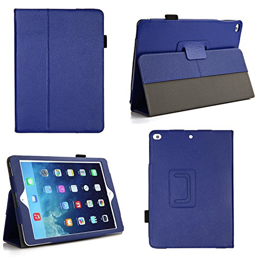 Bear Motion for iPad Air 1 and New iPad 9.7 2018, 2017 - Genuine Cowhide Leather Case with Hand Strap, Built-in Stand and Auto Wake/Sleep Function for Apple iPad Air 1 - Blue