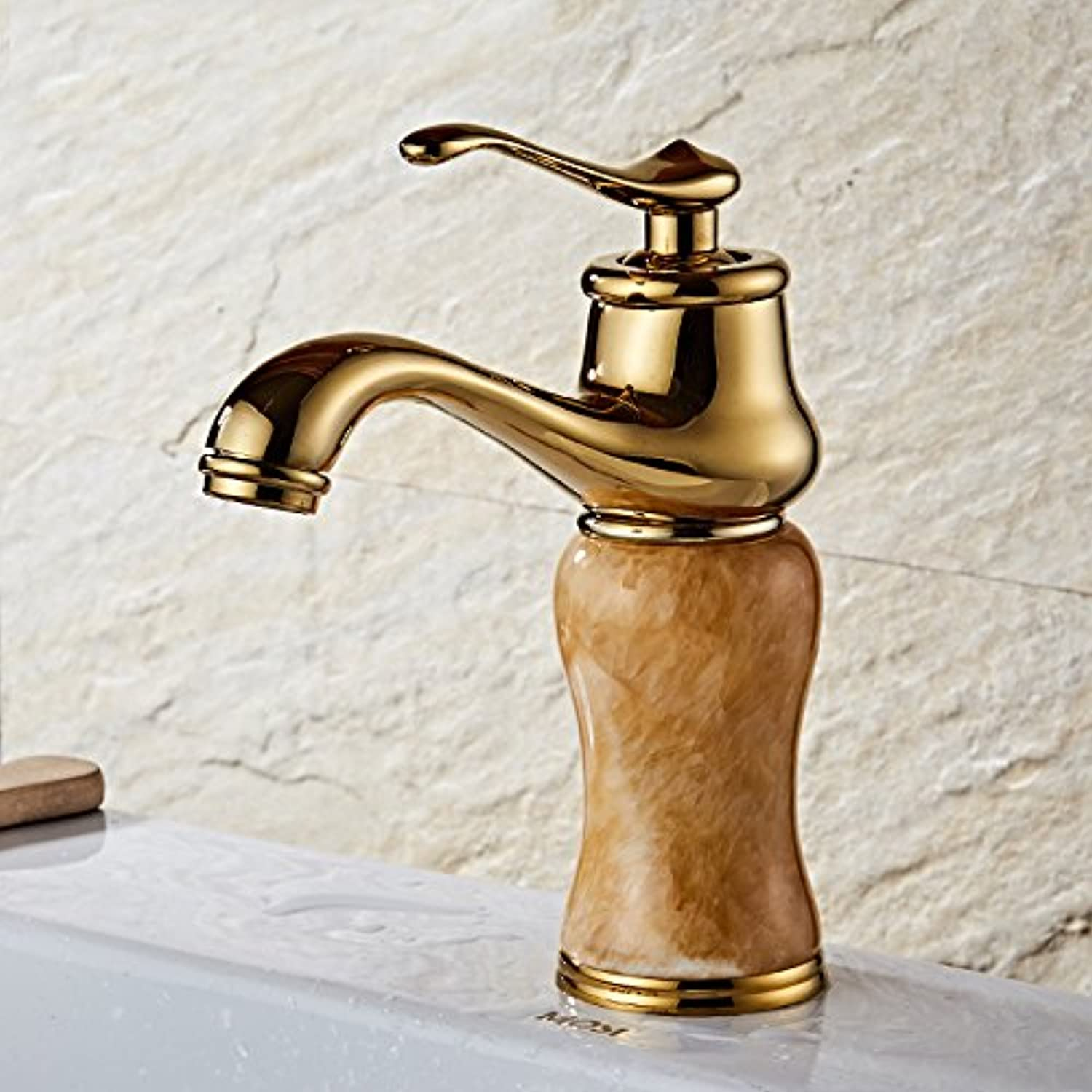 Makej European Type Copper Cold Hot Water Faucet taps Yellow