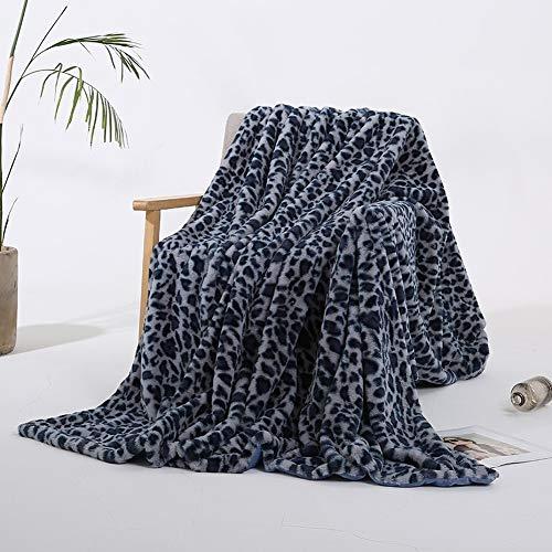 QIUBD Kuscheldecke, Decke Mit Leopardenmuster Weiche Und Warme Flanelldecke, Microfaser Flanell Kuscheldecke Plüschig, Super Flauschige Sofadecke/Bettdecke (Blue,130 x 160 cm)