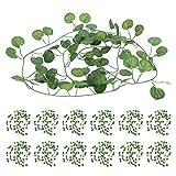 Ratán plástico de bricolaje, 6.9ft Vivid 12Pcs Decoración de hoja verde para restaurante para mesa de comedor(Begonia leaves)