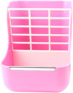 Balacoo 2 in 1 Guinea Pig Food Feeder Indoor Hay and Dry Food Feeding Bowls for Rabbit Chinchilla Small Animals (Pink)