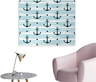 Tudouhoho Anchor Custom Poster Pattern with Anchors Modern Stylized Adventurous Striped Coastline Marine Art Stickers Light Blue Dark Green W48 xL32