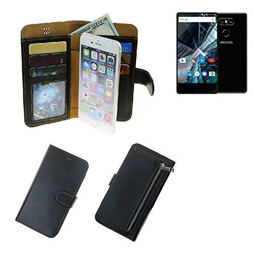 K-S-Trade® Schutzhüll Für Archos Sense 55 S Schutz Hülle Portemonnaie Case Phone Cover Slim Klapphülle Handytasche E Handyhülle Schwarz Aus Kunstleder (1 STK)
