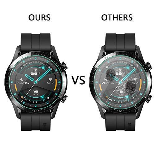 ELYCO [4 Stück] Huawei Watch GT 2 Smartwatch 46mm Panzerglas Schutzfolie, [Blasenfreier] 9H Härte, Anti-Kratzen, Anti-Öl Glasschutzfolie für Huawei Watch GT 2 - 2