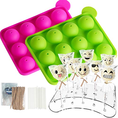 2 Pack of 12 Cavity Cake Pop Mold Maker with Lollipop Stand, Candy Treat Bags, Cake Pop Sticks and Pop Ties for Babycakes, Cake Pop Make, Party, Birthday,Family