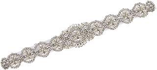 Cinturón de Lazo con Perlas Estilo de Vintage Decoración de Casamiento Accesorios de Novia Regalo de Mujer - Blanco, 41 x 5 cm