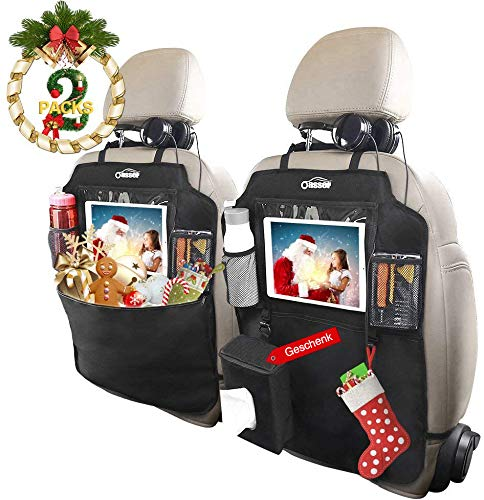 Oasser Auto Rückenlehnenschutz, 2 Stück Auto Rücksitz-Organizer, Kick-Matten-Schutz für Autositz, 600D Oxford Stoff WasserdichtesTrittschutz mit 10 Zoll Durchsichtigem iPad-Tablet-Halter, 1 Tissue-Box