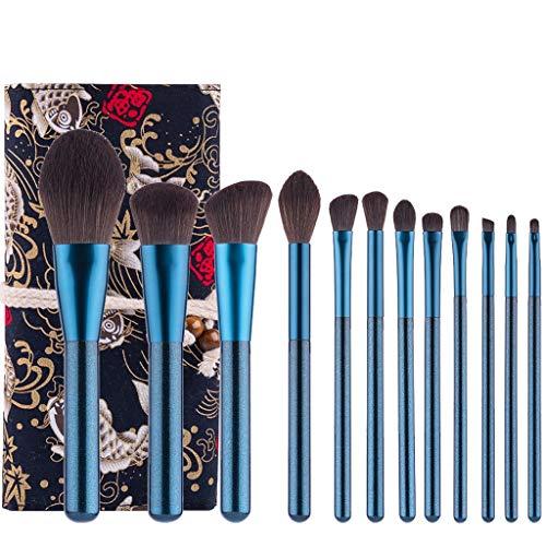 12pcs Set de pinceaux de maquillage professionnel Trousse à outils pour le fard à paupières Foundation Blush Avec sac cosmétique (Bleu perle)