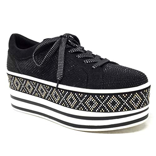 Angkorly - Damen Schuhe Sneaker - Plateauschuhe - Vintage/Retro - Straße - Strass - Perforiert - Streifenmuster Keilabsatz high Heel 7 cm - Schwarz 3850-2 T 37