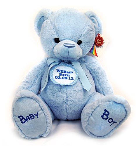 New Baby Boy First Personalised Blue Spotted Badge Blue Cuddly Teddy Bear Soft Toy Big 35cm