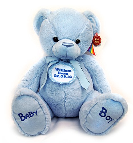 New Baby Boy First Personalised Blue Spotted Badge Blue Cuddly Teddy Bear Soft Toy Big 35cm