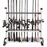 Sougayilang Fishing Rod Rack Metal Aluminum AlloyPortable Fishing Rod Holder Fishing Rod Organizer for All Type Fishing Pole, Hold Up to 24 Rods