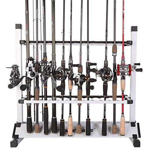 One Bass Soporte para caña de Pescar de aleación de Aluminio para Todo Tipo de cañas de Pesca, hasta 24 cañas, 24 Rods Rack-SilverBlack