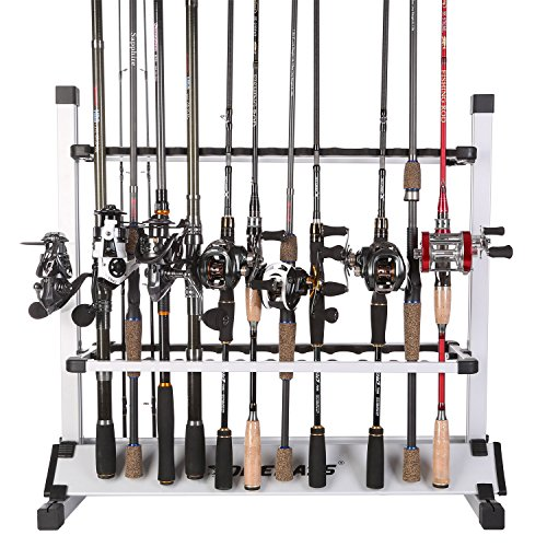 One Bass Sougayilang Fishing Rod Rack Metal Aluminum AlloyPortable Fishing Rod Holder Fishing Rod Organizer for All Type Fishing Pole, Hold Up to 24 Rods