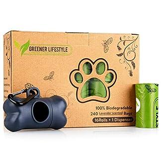 Greener Lifestyle 240 Lavender Scented Dog Poop Bags + 1 Dispenser 20