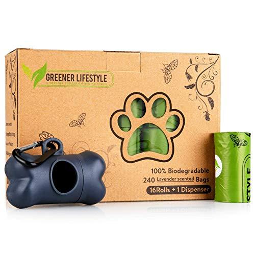 Greener Lifestyle Dog Waste Bags + 1 Dispenser | 240 Lavender Scented, Biodegradable Dog Poop Bags