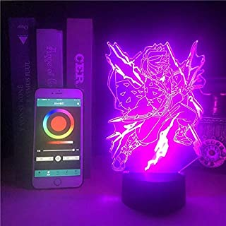 Demon Slayer Agatsuma Zenitsu Bluetooth Control 3D Light Anime Battery Powered Adult Decorative Christmas Lamp on 3D Optic...