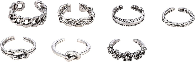 Timetries01 7Pcs Adjustable Toe Rings for Women Flower Band Open Tail Ring Women Beach Foot Jewelry Set