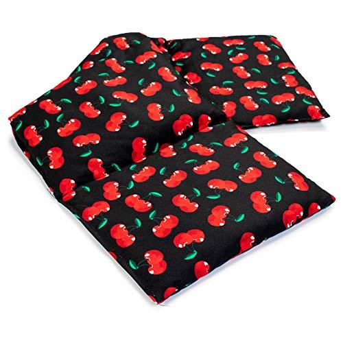 Almohada térmica compartimentada en 4 con semillas de grosella 60x20cm - Saco térmico para microondas - Calor y frío - Cojín térmico con semillas (Color: cherry-black)