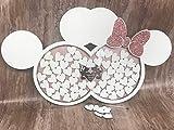 FSSS Ltd Personalisierbares Gästebuch für Hochzeiten, Motiv: Minnie Mickey, Weiß/Roségold rustikal, Shabby Chic, Holz, 30 Hearts