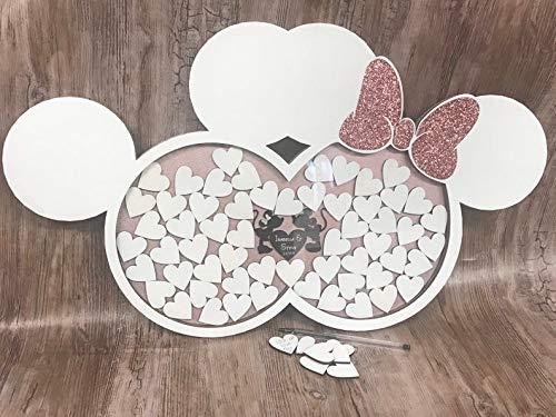 FSSS Ltd Personalisierbares Hochzeitsgästebuch mit Minnie Mickey Disney inspiriert, weiß &...