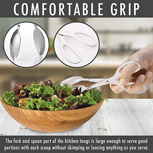 Product Image 3: Stainless Steel Salad Tongs, 8 Inch Serving Tongs with Comfortable Grip, Anti Rust and Corrosion Dishwasher Safe Fork Tongs for Home Kitchen Party Buffet Catering with Food Recipe Ebook