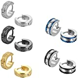Aroncent Boston 10PCS Classic Matte Stainless Steel Small Hoop Earring Huggie Earrings