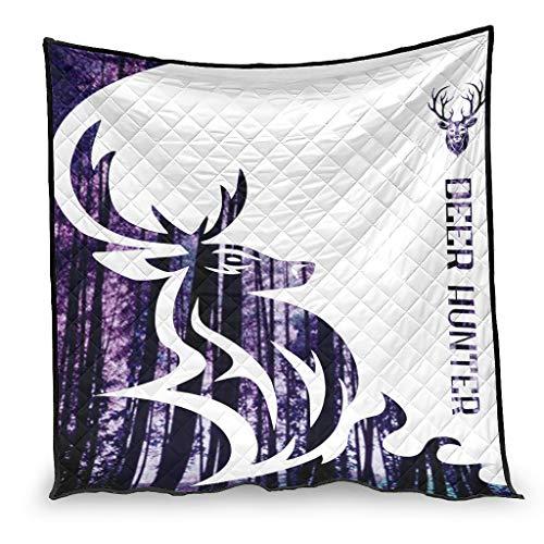YshChemiy Deer Hunter - Colcha de algodón para cama de coche, manta suave con estampado en 3D, para niños y niñas, 100 x 150 cm, color blanco