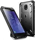 Galaxy J3 2018 Kickstand Rugged Case, Poetic Revolution Full Body Case with Built-in-Screen Protector for Samsung Galaxy J3 Orbit/J3 Star/J3 V 3rd Gen/J3 Achieve/Express Prime 3/Amp Prime 3 Black