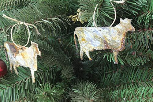 4-1/2' Cow Shape Thin Rusty Metal Christmas Ornament Holiday Themed Farm Gift