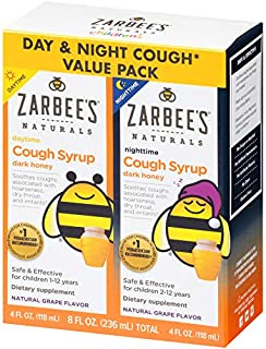 Zarbee's Naturals Children's Cough Syrup with Dark Honey Daytime & Nighttime, Natural Grape Flavor, 4 oz Bottles (Value Pack of 2)